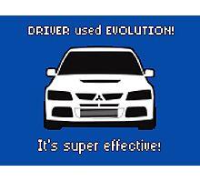 Mitsubishi Evo used Evolution It was Super Effective! Pokemon Gag Sticker / Tee - White Photographic Print