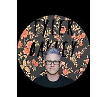 Tyler Oakley round - black  Photographic Print