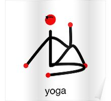 Stick figure-half lord of the fishes & yoga text. Poster