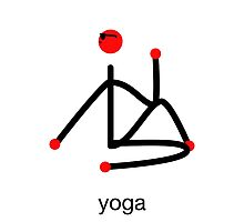 Stick figure-half lord of the fishes & yoga text. Photographic Print