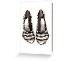 White & Black Shoe Greeting Card
