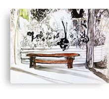 red wood bench Canvas Print