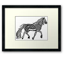 Zentangle Trotting Friesian Horse Framed Print