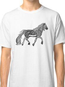 Zentangle Trotting Friesian Horse Classic T-Shirt