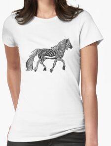 Zentangle Trotting Friesian Horse Womens Fitted T-Shirt