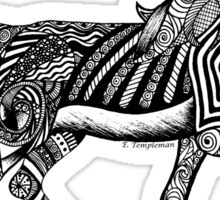 Zentangle Trotting Friesian Horse Sticker