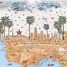 Los Angeles Skyline Vintage Map by Paula Belle Flores