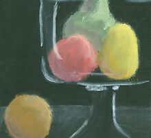 Abstract Fruit on Dark Background Still life by Amy Sue Stirland
