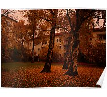 Autumn Courtyard.  Poster