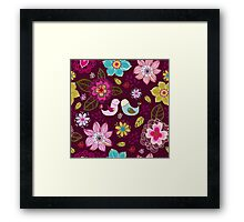 Seamless texture with flowers and birds. Framed Print
