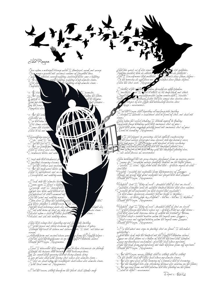 Vintage print with Edgar Alan Poe Poem and Raven Silhouette: Break Free  by SFDesignstudio