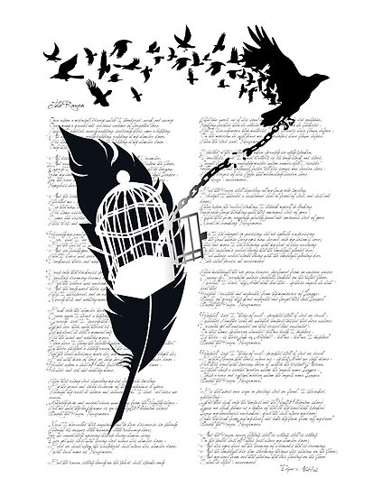 Vintage print with Edgar Alan Poe Poem and Raven Silhouette: Break Free  by SFDesignstudio