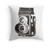 Vintage Beautyflex TLR camera Throw Pillow