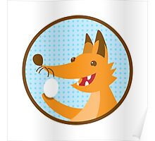 Cute little foxee with an egg Poster