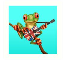Tree Frog Playing Union Jack Guitar Art Print