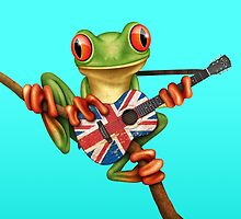 Tree Frog Playing Union Jack Guitar by Jeff Bartels