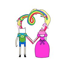Adventure Time - Finn and Bubblegum in Love Photographic Print