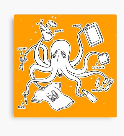 Screen Print Octopus Canvas Print