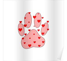 Pink Paw With Red Hearts Poster
