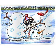 Schnauzer Snow Day Poster