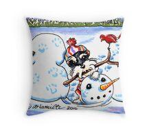 Schnauzer Snow Day Throw Pillow