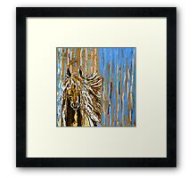 Horse:  Horse Running Wild Blue and Brown Framed Print