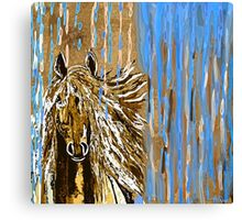 Horse:  Horse Running Wild Blue and Brown Canvas Print