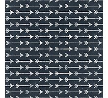Chalkboard Arrow Pattern - Black and White Tribal Photographic Print