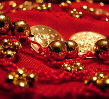 Gold Beads on a Coin Belt by Tracy Engle