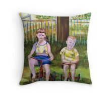 Cousins on Bikes Throw Pillow