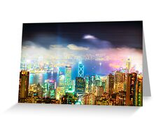 Hong Kong Night Lights Greeting Card
