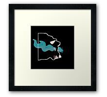 Black Blue Flame Wolf Framed Print