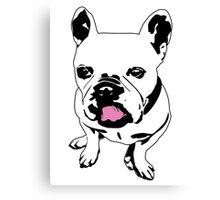 french bulldog licking his lips Canvas Print