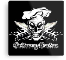 Chef Skull 4: Culinary Genius 3 white flames Metal Print
