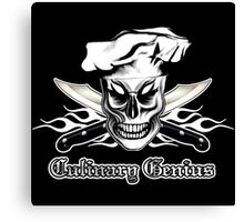 Chef Skull 4: Culinary Genius 3 white flames Canvas Print