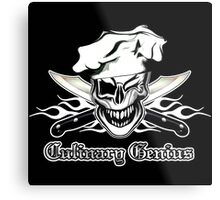 Chef Skull 7: Culinary Genius 3 white flames Metal Print