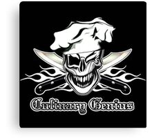 Chef Skull 7: Culinary Genius 3 white flames Canvas Print