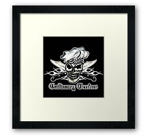 Chef Skull 8: Culinary Genius 3 white flames Framed Print