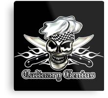 Chef Skull 8: Culinary Genius 3 white flames Metal Print