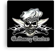 Chef Skull 8: Culinary Genius 3 white flames Canvas Print