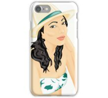 summer girl with hat iPhone Case/Skin