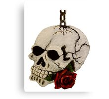 Hand-Painted Skull and Red Rose using Acrylic Paints Canvas Print