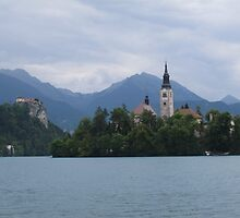 Lake Bled - Church of Assumption and Castle.  by stoo61