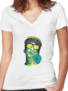 Wiz Khalifa Art Women's Fitted V-Neck T-Shirt