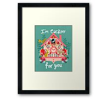 I'm Cuckoo For You - Vintage Cuckoo Clock Illustration for Valentines Day Framed Print