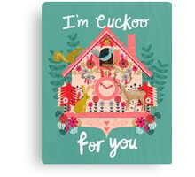 I'm Cuckoo For You - Vintage Cuckoo Clock Illustration for Valentines Day Canvas Print