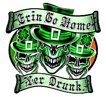 Leprechaun skull Trio: Erin Go Home, Yer Drunk Photographic Print