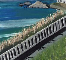 Colorful painting Atlantic Ocean view France by Melissa Goza