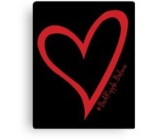 #BeARipple...Believe Red Heart on Black Canvas Print