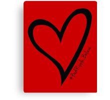 #BeARipple...Believe Black Heart on Red Canvas Print